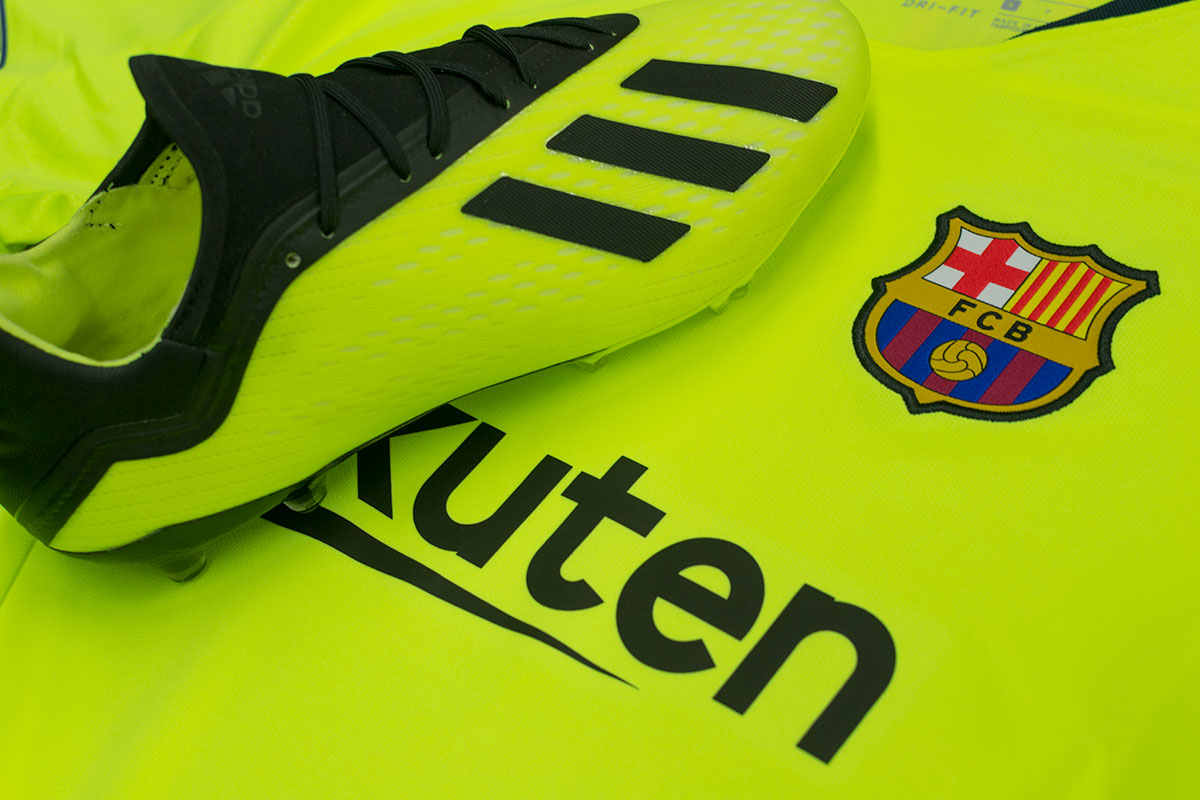 460bd35ef If bright is your thing then the combination of Barcelona s fluorescent  away kit with adidas  volt X18 boots is definitely for you.