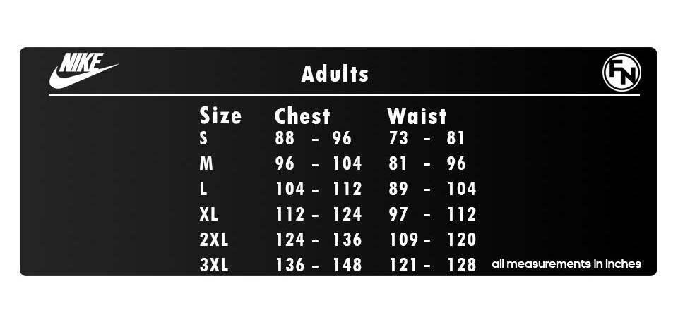 Nike Teamwear Size Guide