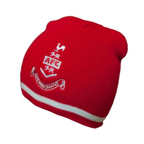 Airdrieonians - Stripe Knit Beanie Hat - Red/White - Official Accessories