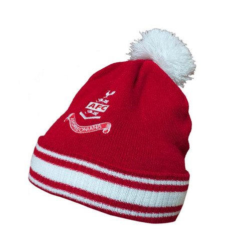 Airdrieonians - Bobble Beanie Hat - Red/White - Official Accessories