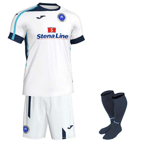 Football Shirts - Stranraer FC Full Away Kit 2019/20 - White/Sky/Navy - 101274.203-FK