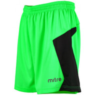 Mitre Defense Goalkeeper Shorts Lime Green/Black
