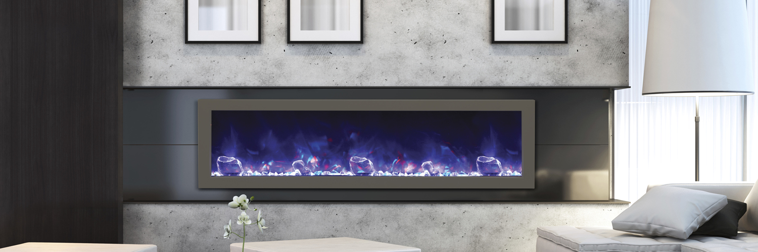 "Beautful and contemporary looking Amantii electric fireplace - BI-60-SLIM - 60"" wide x 12"" deep  – Full Frame Viewing Electric Fireplace by Amantii - purchase online"
