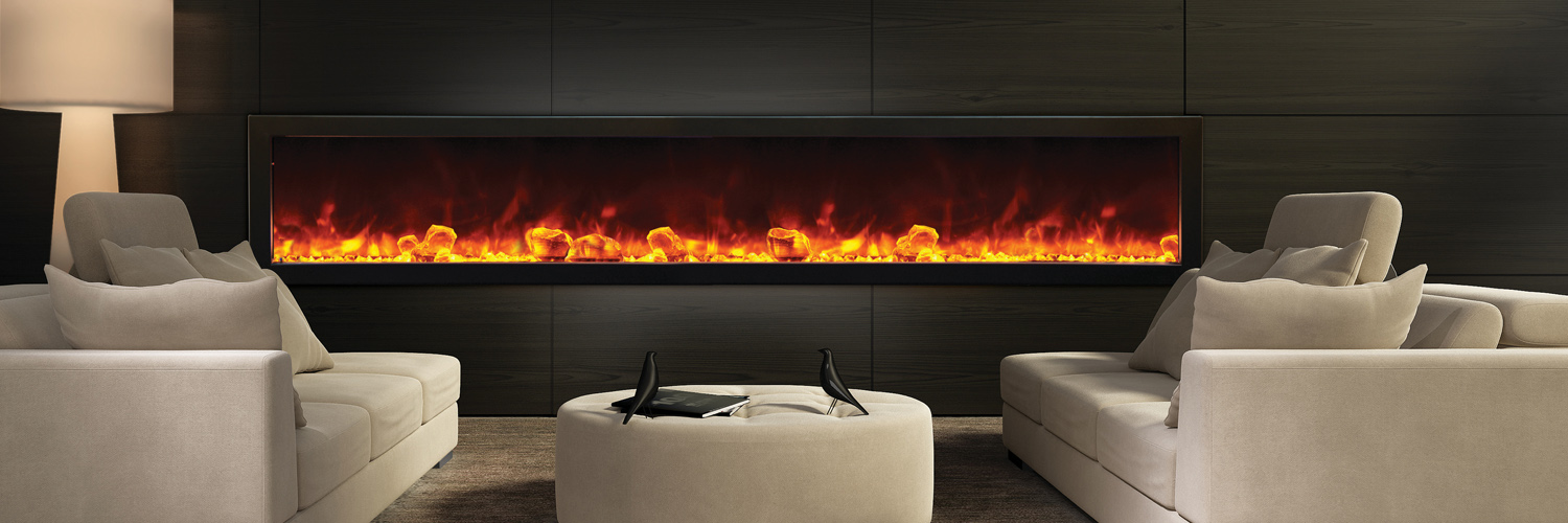 Amantii Electric Fireplaces - BI-88-DEEP – very large fireplace - 88? wide x 12? deep – Full Frame Viewing