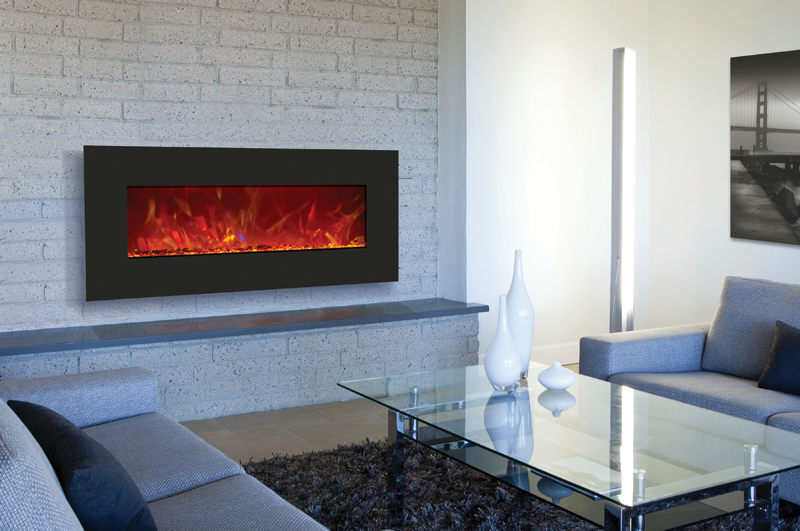 A thin wall mount electric fireplace provides the same warmth