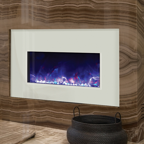 A white electric fireplace will simultaneously brighten up you space while also providing warmth with the cozy flames.