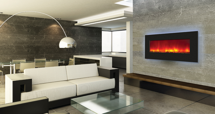 Electric Fireplae unit - 34 inches wide. this elegant fireplace can be Wall Mounted or Built in. Comes with mood setting back-Iit lighting - by Amantii