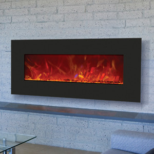 43 inches wide black glass face electric fireplace