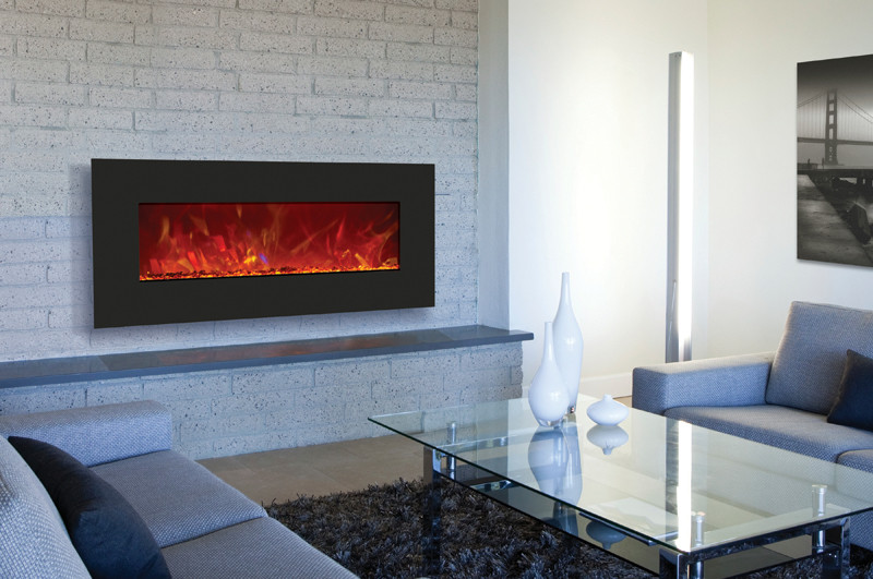 black glass face electric fireplace - 43 inches wide