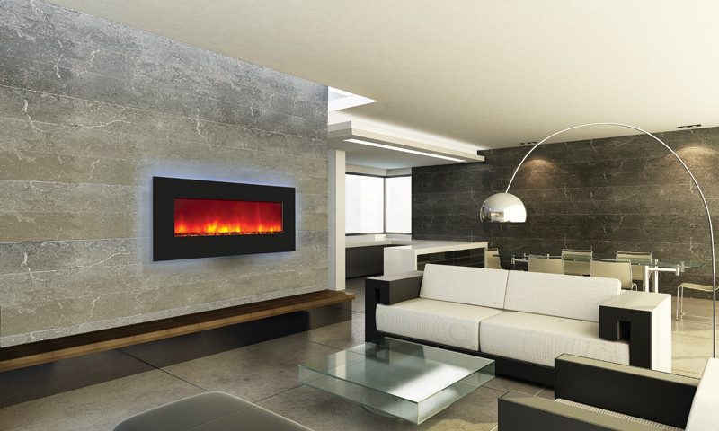 Amantii 34 inch wide electric fireplace with fire glass media
