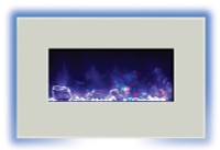 Amantii 26 inch wide wall mount or built in electric fireplace with purple flame and back lighting