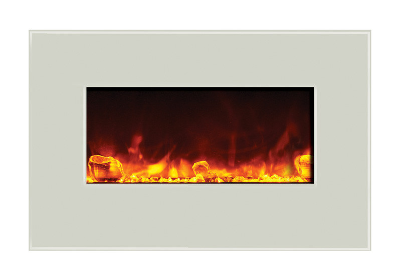 Amantii 26 inch wide wall mount or built in electric fireplace with white glass face and golden yellow flame