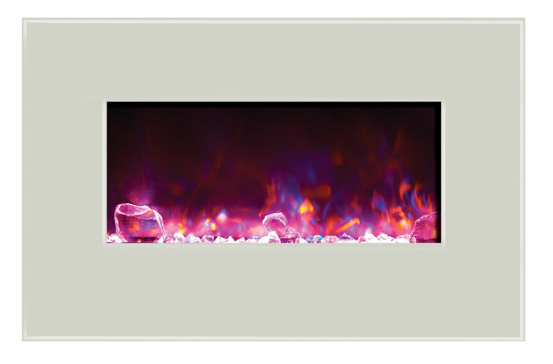 Amantii 26 inch wide wall mount or built in electric fireplace with white glass face and rose flame