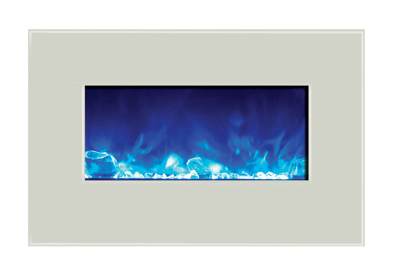 Amantii 26 inch wide wall mount or built in electric fireplace with white glass face with blue flame