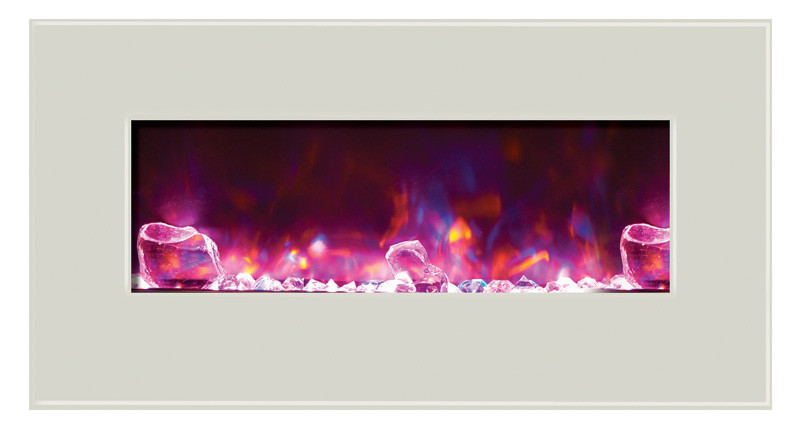 electric fireplace - 34 inches wide, white glass face and rose flame