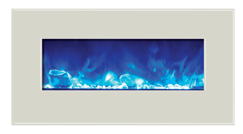 Elegant electric fireplace - 34 inches wide with white glass surround.