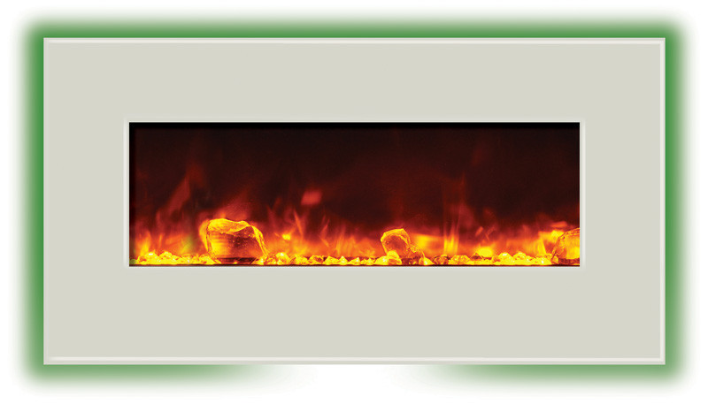 electric fireplace - 34 inches wide, white glass face, golden yellow flame and back lighting