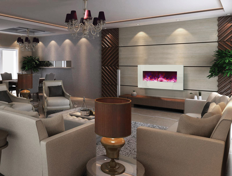 electric fireplace - 34 inches wide, white glass face