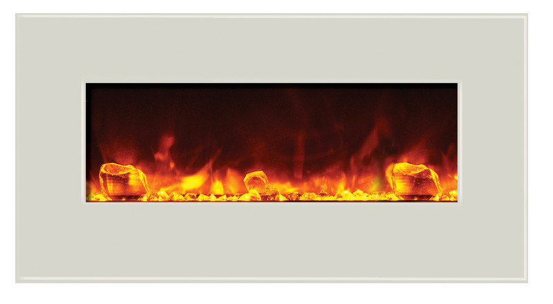 electric fireplace - 34 inches wide, white glass face and golden yellow flame