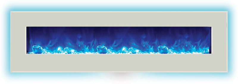 WM-BI-72-8123-WHTGLS Wall Mount / Built-In Electric Fireplace - blue flame with back light