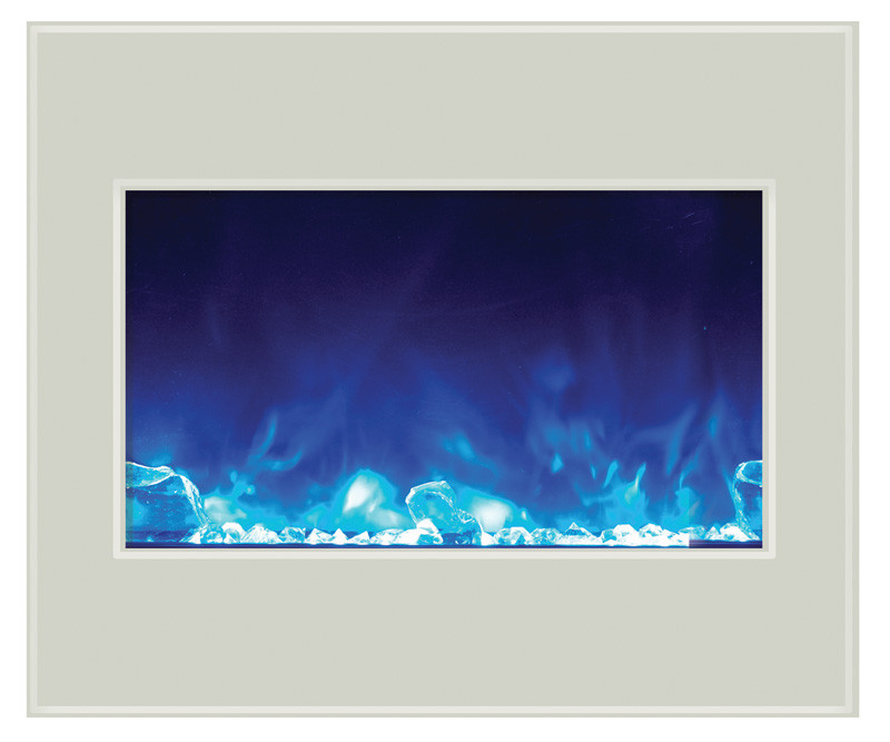 ZECL-30-3226-WHTGLS - Zero Clearance Electric Fireplace with blue flame