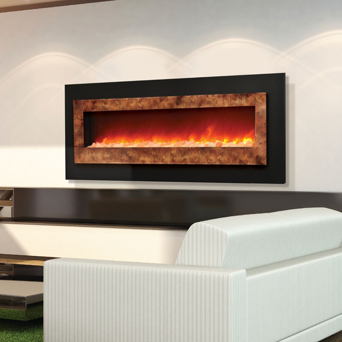 Sierra Flame WM-FML-85 wide linear electric fireplace - blends contemporary with classic fireplace design.