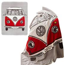 Volkswagen Red Retro Campervan Fleece Throw Blanket