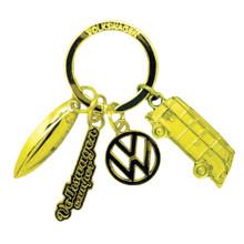 VW Campervan Gold Charm Keyring