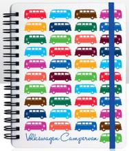 VW Multi Coloured Campervan Notepad