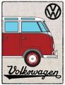 VW Red Campervan Hessian Metal Sign