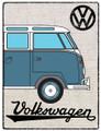 VW Blue Campervan Hessian Metal Sign