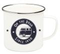 VW T1 Campervan On The Road Enamel Tin Mug