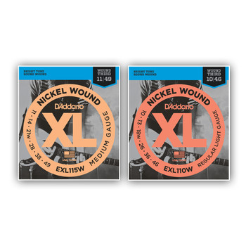 D'addario XL Wound Third Electric Guitar Strings from www.superstrings.com