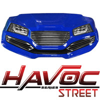 Madjax Blue HAVOC Front Cowl w/ Street Fascia & Headlights for Yamaha Drive (Fits 2007-2016)
