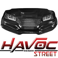 Madjax Black HAVOC Front Cowl w/ Street Fascia & Headlights for Yamaha Drive (Fits 2007-2016)