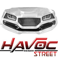 Madjax White HAVOC Front Cowl w/ Street Fascia & Headlights for Yamaha Drive (Fits 2007-2016)