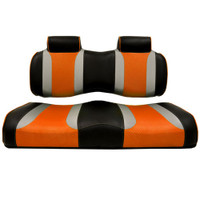 Madjax TSUNAMI Black–Liquid Silver w/ Orange Wave Front Seat Cushion Set
