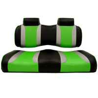 Madjax TSUNAMI Black–Liquid Silver w/ Green Wave Front Seat Cushion Set