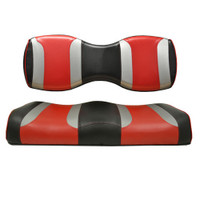 Madjax TSUNAMI Shockjet Liquid Silver w/ Hot Rod Red Rear Seat Cushion Set - Fits Genesis 250/300 Rear Seat Kits