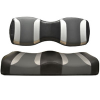 Madjax TSUNAMI Black Liquid Silver W/ Lagoon Grey Rear Seat Cushion Set - Fits Genesis 250/300 Rear Seat Kits