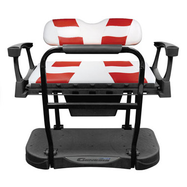 Madjax Genesis 250 Steel Rear Seat with White/Red RIPTIDE Standard Cushions
