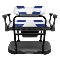 Madjax Genesis 250 Steel Rear Seat with White/Blue RIPTIDE Standard Cushions