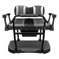 Madjax Genesis 300 Aluminum Rear Seat with TSUNAMI Black Liquid Silver/Lagoon Grey Cushions