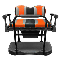 Madjax Genesis 300 Aluminum Rear Seat with TSUNAMI Black Liquid Silver/Orange Wave Cushions