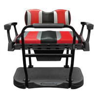Madjax Genesis 300 Aluminum Rear Seat with TSUNAMI Black Liquid Silver/Hot Rod Red Cushions