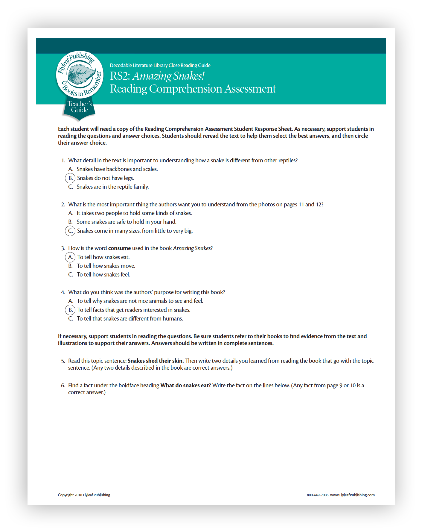 - Reading Series Two Close Reading Guide Assessments