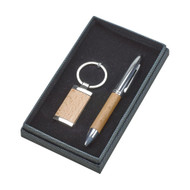 Wood Trimmed Pen and Key Chain Gift Set