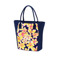 Floral Cooler Tote - Monogram Shown: Master Circle Font/White Thread