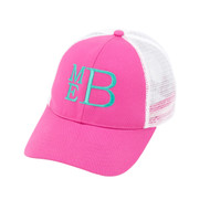 Hot Pink Trucker Hat - Monogram Shown: Mint Thread/Stacked Font