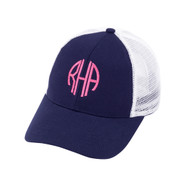 Navy Trucker Hat - Monogram Shown: Hot Pink Thread/Circle Font